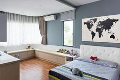 Spacious kids bedroom for your darling little one. Home Repair Services, House Cleaning Services, Bedroom Furniture, Bedroom Decor, Color Of The Year 2017, Interior Design Inspiration, Color Inspiration, Kids Bedroom, Pocket Square