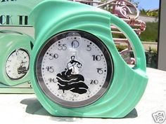Sea Mist Green Fiesta® Kitchen Timer features the Dancing Lady logo on the dial. The timer is in the shape of a vintage Fiesta® Disc Pitcher and measures 3 wide x 3 high Kitchen Helper, Big Kitchen, Green Kitchen, Kitchen Colors, Vintage Kitchen, Lady Logo, Fiesta Kitchen, Antique Stove, Kitchen Timers