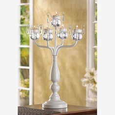 Fairy Crystal White Candelabra (Fairy Crystal White Candelabra Set of 2), Clear (Acrylic)