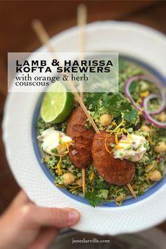 Lamb Kofta Skewers with Harissa & Couscous