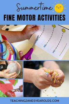 Summer fine motor activities for preschoolers - a fun collection of ideas that get the hands ready for writing! #summer #finemotor #handwriting #preschool #activities #3yearolds #4yearolds #teaching2and3yearolds Toddler Fine Motor Activities, Summer Activities For Toddlers, Cutting Activities, Preschool Learning Activities, Preschool Summer Camp, Preschool Themes, Summer Lesson, Handwriting Activities, Preschool Lesson Plans