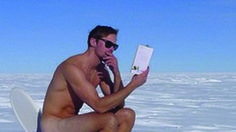 Alexander Skarsgard poses naked on a toilet in the South Pole
