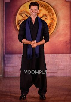 Hrithik Roshan's traditional look in a black pathani. via Voompla.com