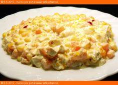 """Vytlačiť Šalát ŠANI Zelenina, ovocie, mäso, cibuľka. Nie je to najlacnejší šalát, ale od prívlastku """"najlepší šalát"""" rozhodne nemá ďaleko - v chladničke nevydrží Ingrediencie 600 g kuracie prsia 5 ks veľká mrkva 2 menšie alebo jednu veľkú cibule červené 2 malé konzervy lúpaných mandariniek v mierne sladkom náleve 1 biely smotanový jogurt 200ml cca …"""