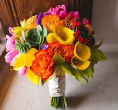 Bouquet for a fiesta wedding, flowers by http://www.juniperfloraldesigns.com/, Art & Soul Events