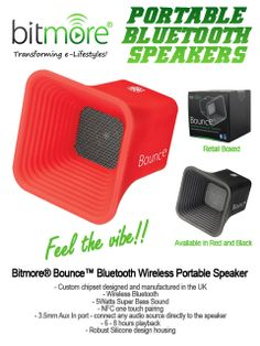 The Bitmore® Bounce™ Bluetooth Wireless Portable Super Bass Speaker is the perfect companion for anyone who is looking for super pumping, rich sounds from a speaker you can use anywhere!  The irresistible combination of upbeat sound and sexy, leftfield styling. The silicone finish just demands an admiring caress, and if that isn't enough to win you over, just wait till you hear 5 watts of exciting music through our HDSS system (High Definition Sound System).