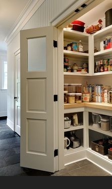 Kitchen Pantry.... Great use of shallow space Step-in style with baskets on lower shelves or pull-out drawers