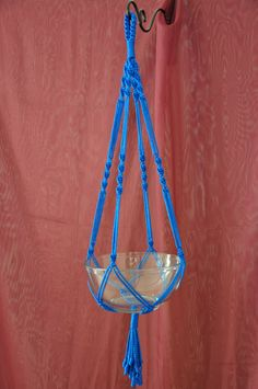 Hand Crafted Macrame Plant Hanger Royal Blue door macramemarket, $11,99