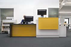 Reception desk at Haberdashers; Aske's Girl's School Library - Hertfordshire. Designed and installed by thedesignconcept in 2015.