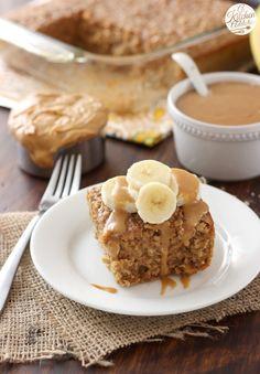 Peanut Butter Banana Bread Baked Oatmeal | a-kitchen-addiction.com