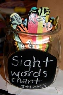 Sight Word chants on popsicle sticks.  Would be good for weekly words.  Source: http://growingkinders.blogspot.com/2011/06/sight-words-and-chants.html