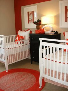 Red white black unisex twin nursery