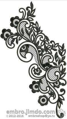 Ideas For Embroidery Cute Design Border Embroidery Designs, Machine Embroidery Designs, Embroidery Stitches, Embroidery Patterns, Beaded Embroidery, Lace Tattoo Design, Lace Design, Lace Drawing, Muster Tattoos