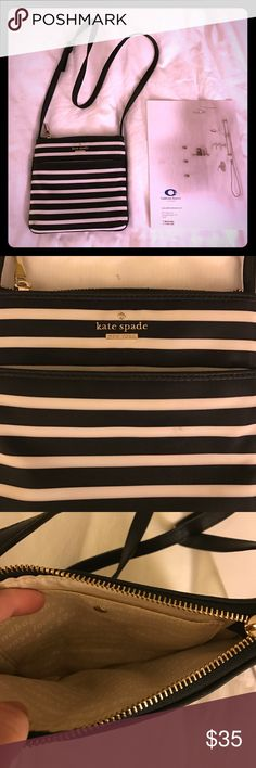 """Kate Spade cross body bag I used this bag maybe twice. Black/white stripe. Nylon material. Perfect square 6"""" x 7"""" kate spade Bags Crossbody Bags"""