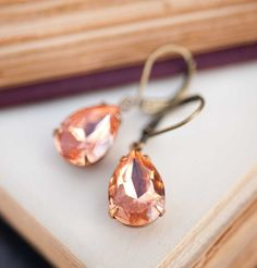 Hey, I found this really awesome Etsy listing at https://www.etsy.com/listing/91426751/dangle-earrings-estate-style-peach