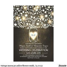 Vintage mason jar yellow flowers 5x7 wedding invites. Artwork designed by jinaiji.
