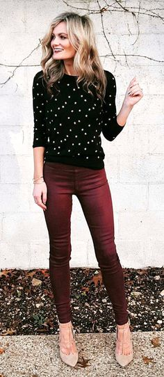 6527031875  fall  outfits women s black and white long sleeve top with maroon skinny  pants Maroon