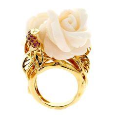 Dior Pre Catelan Coral Pink Sapphire Gold Rose Ring For Sale Dior Jewelry, Coral Jewelry, Rose Gold Jewelry, Jewelry Rings, Gold Jewellery, Jewlery, Coral Ring, Coral And Gold, Red Gold