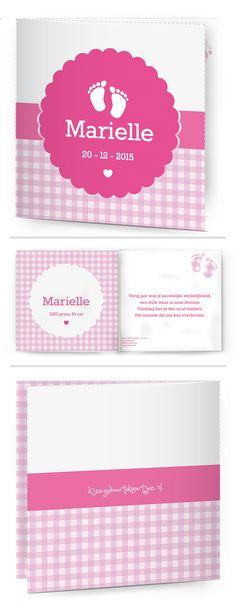 Bekijk de leukste kaartjes op onze site | http://www.kissgeboortekaartjes.nl | #baby #geboortekaartje  #kissgeboortekaartjes #meisje #ruitjes #roze #voetjes