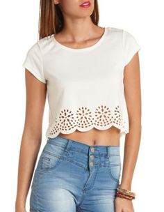 laser cut-out scalloped crop top