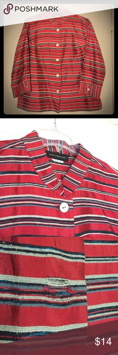 """🌹Beautiful Red Striped Silk Button Down🌹 Lovely & Comfy Blouse! 100% Silk w/ pearlized silver buttons. Great for work, casual wear, or special occasions! Red w/ blue & white stripes 🇺🇸. Harris/Wallace. 3/4 Sleeves. Size Large/10-12, tag removed (see measurements). Loose fit.🔸Note: Good gently used condition, just some loose thread behind 3rd button (see 3rd pic). 🇺🇸Measurements: Length from shoulder: 22.5"""", Bust (buttoned): 22"""" flat/44"""" full. Sleeves: 18.5"""".💃Offers Welcome & Bundling…"""