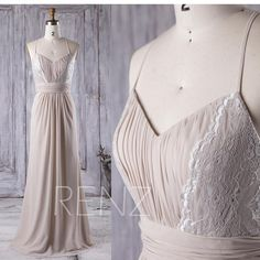 2017 Cream/Beige Bridesmaid Dress Long, V Neck Lace Wedding Dress, Spaghetti Straps Prom Dress, Open Back Formal Dress Floor Length (L148)