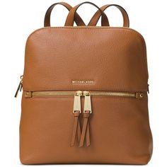 Michael Michael Kors Rhea Medium Slim Backpack (340 AUD) ❤ liked on Polyvore featuring bags, backpacks, luggage, travel rucksack, leather backpack, michael kors, brown backpacks and brown leather backpack