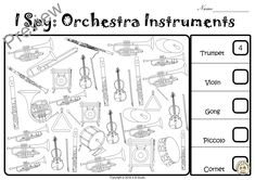 Are you looking for a fun and engaging activity to help your students learn to recognize orchestra instruments? I Spy Orchestra Instruments coloring game is the perfect activity for students to practice instruments recognition. Music Games, Music Class, Instruments Of The Orchestra, Musical Instruments, Music Worksheets, School Closures, Music Activities, I Spy, Violin