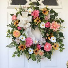 Summer Wreath-Spring Door Wreath-Mother's Day Gift-Wedding Decor-Summer Wreaths-Cottage Chic Wreath-Designer Wreath-Regina's Garden