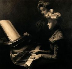 The piano lesson - Firmin Baes : Belgian impressionist painter 1874 - 1943.