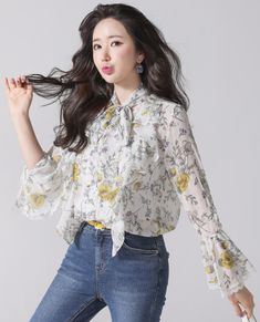StyleOnme_ Floral Print Lace Trim Bell Sleeve Ribbon Blouse #ivory #floral #stylish #bellsleeve #bow #ribbon #blouse #feminine #koreanfashion #kstyle #kfashion #springtrend #seoul #dailylook