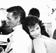 """Cary Grant and Sophia Loren. {Did you know Cary was madly in love with Sophia? She was 23 and he was 52. She turned down his proposal because her lover Carlo Ponti's divorce was finalized. In an interview she said if circumstances had been different, """"Yes, I would have married Cary Grant.""""}"""
