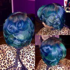 Mermaid color & Silk Press on Natural Hair #mermaidhair #bluehair #greenhair #silkpress #naturalhair #atlantahair
