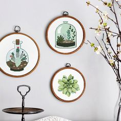 Set of 3 cross stitch patterns, Succulent garden, Modern cross stitch pattern, Plant cross stitch, xstitch, Green, Cacti, Succulents