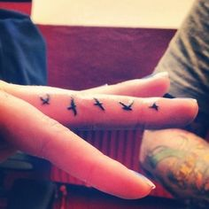 flying birds finger tattoo #Tattoo #Tattoos