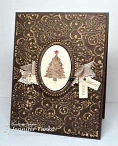 Grunged & Sanded Embossed Christmas Tree Card...Freshly Made Sketches - Stampin' on the Fly.
