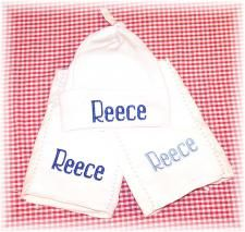 Personalized Baby Hat and Burp Cloth Sets by babyobaby.com. Stand out in the nursery!