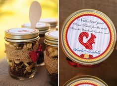 """trail mix """"nuts about you"""" mason jar party favors"""