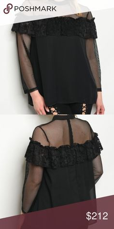 "PLUS SIZE BLACK BLOUSE New from our Boutique  New twist to a black top, this top features mesh and ruffle details! This top is fully lined. dress it casual or dress it up, this top is a staple!  1x BUST 21-23"" across length 28"" 2x BUST 22-24"" across Length 28"" 3x BUST 23-25"" across Length 29"" Zipper On back Material 100% polyester . Tops Blouses"