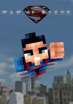 Minecraft Superman Man of Steel Poster Minecraft Posters, Superman Man Of Steel, Adventure Time, Movie Tv, Avengers, Gaming, Kid, Room, Child