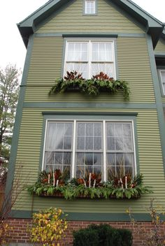 Fall Window Boxes Transition to Winter by Cathy Litrofsky, via Behance Christmas Window Boxes, Winter Window Boxes, Outside Christmas Decorations, Christmas Planters, Christmas Porch, Winter Planter, Window Box Flowers, Flower Boxes, Winter Porch