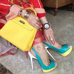 colourful combination of colourblocked louboutins and hermes kelly   shoeporn  bagporn  perfectpairings Sapatos 1822ea6c8b1