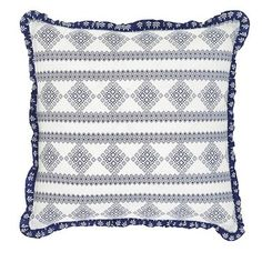 This fabric is 100% cotton and will be easy to wash by unbuttoning the two buttons and removing the pillow insert. https://www.uptowncasual.com/products/bluehill-harbor-fabric-pillow-16-filled #uptownquiltedbedding #pillow