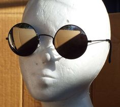 vintage 1980s  round sun glasses large mirrored by SaltysPirateDen, $12.00