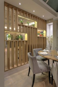 Awesome Restaurant-Bar, Mezza Luna, Athens, RC group - Best Decoration ideas for the home Living Room Partition Design, Room Partition Designs, Living Room Divider, Living Room Decor, Wood Partition, Partition Ideas, Room Divider Shelves, Restaurant Design, Restaurant Bar