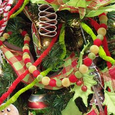Bead Garland Christmas Decoration 6' Red, Green, Gold Acrylic Beads range from a flocked finished, shiny or matte and have weight to them.
