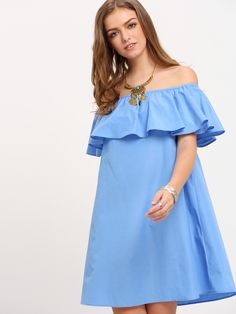 Shop Blue Off The Shoulder Ruffle Shift Dress online. SheIn offers Blue Off The Shoulder Ruffle Shift Dress & more to fit your fashionable needs.