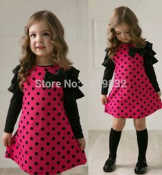 >> Click to Buy << Girl Casual Dress 2015 Spring Girl Princess Dress Long Sleeve Dress Polka Dot Frock Children Clothes #Affiliate