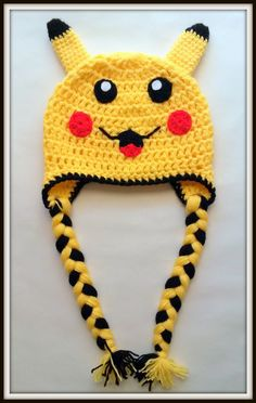 Pokemon pikachu Crochet baby Kids hat Handmade fancy costume