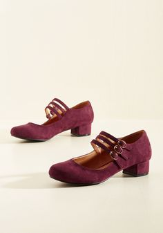 All Tapped Out Heel in Burgundy. Just when you get to thinking there's nothing left in your wardrobe to express your stylish sensibilities, these sweet Mary Janes will arrive and invite you to dance through your day! #red #wedding #modcloth